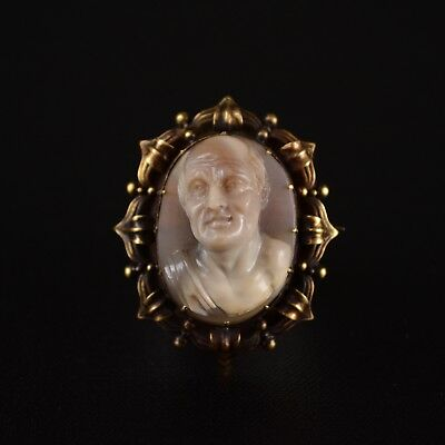 Fine Antique 18th/19th Century Georgian Hardstone Cameo Gold Brooch/Pendant