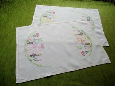 Pr.vintage Hand Embroidered Tray Cloths-Crinoline Ladies