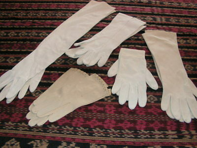 Vintage Women's Gloves 5 Pair White & Beige Gloves Leather Cotton Long Short