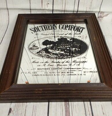 Vintage Southern Comfort Black & White Advertising Pub Mirror Bar Man Cave 38cm