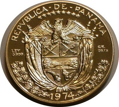 1974 Silver Balboa of Panama GEM PROOF Deep Cameo .900 Fine SILVER
