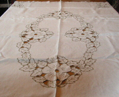 Vintage Cutwork Linen Tablecloth Linen Embroidered Cut Work Tablecloth White
