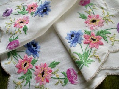Vintage Tablecloth Hand Embroidered Anemones-Linen