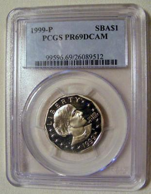 PCGS PR69 DCAM 1999-P DEEP CAMEO PROOF Susan B Anthony Dollar Coin SBA