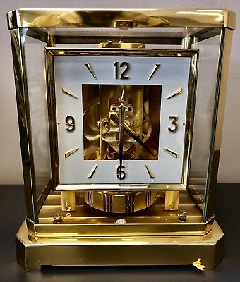 """JAEGER LeCOULTRE 528-8 """"ATMOS"""" MANTLE CLOCK """"SQUARE DIAL"""" RUNNING ~ NO RES NICE"""