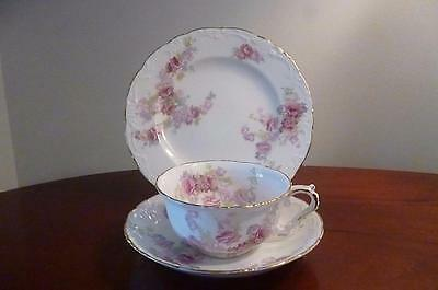 Lovely Antique Victorian Trio, Side Plate, Teacup & Saucer Pink Roses decoration