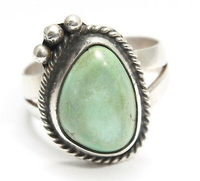 Vintage Navajo Sterling Silver Small Old Pawn Light Green Turquoise Ring Sz6
