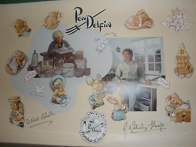 Pendelfin Signed Grand Auction Poster 1996 - Jean and Doreen - JWH DNR
