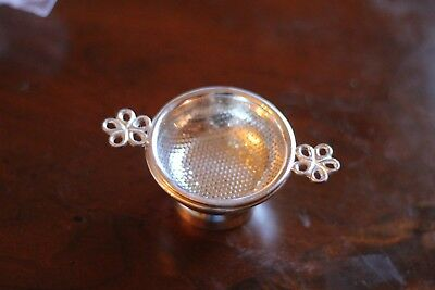 Tea Strainer, Silver Plated w/ Drip Bowl, Antique Reproduction, Marlybone