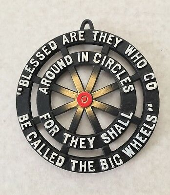 "Vintage Creatively Crafted Cast Iron Wheel Footed Trivet ""Blessed are they who"""