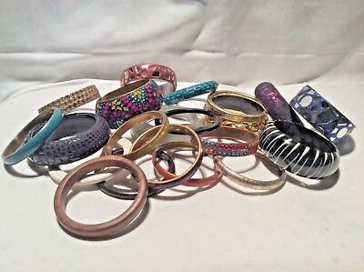 Costume Jewellery Job Lot of 20 Fashion Statement Bracelets Bangles