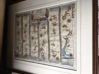 Original Framed Antique John Ogilby Map Barnstaple To Exeter Devon