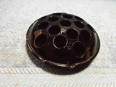 "Vintage, black amythist, 16 hole flower frog, mint, 4"" dia., rare color."