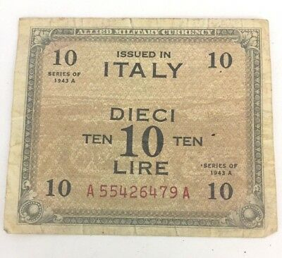 1943 Italy 10 Dieci Lire Old Military Bank Note