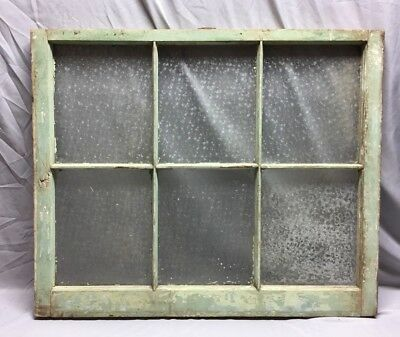 Antique 6 Lite Florentine Privacy Glass Window Sash 28X34 Old Vintage 55-19C