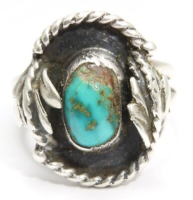 Vintage Navajo Sterling Silver Old Pawn Green Royston Turquoise Leaf Ring Sz6.25