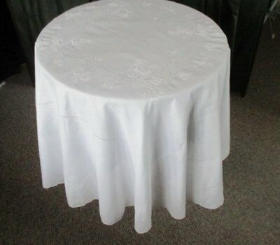 """Vintage Round Tablecloth-White-Hand Embroidery-68""""dia"""