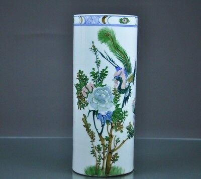 Antique Chinese Republic Famille Rose Porcelain Vase/Stand Singed