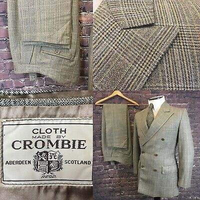 "Vintage Goodwood Crombie Cloth 2 Piece Suit Double Breasted Check 36"" Chest 31""w"