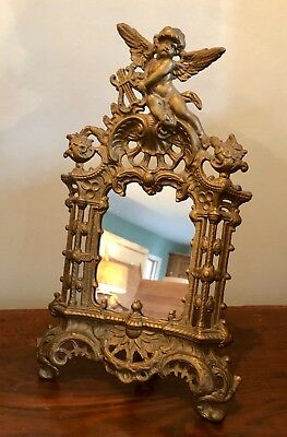 Gorgeous! Victorian Gilded Cast Metal Cherub Picture Frame w Mirror