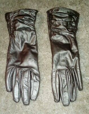 Silver Ruffled leather gloves