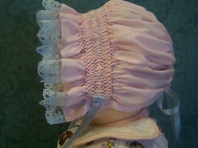 Hand Smocked Baby Bonnet - Baby Pink & Blue - New
