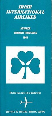 Irish International Airlines 1961 Timetable Schedule