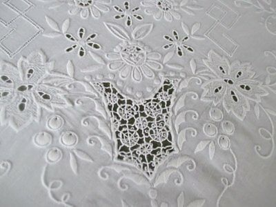 "LARGE VINTAGE TABLECLOTH HAND EMBROIDERED LINEN-68"" x 84"""