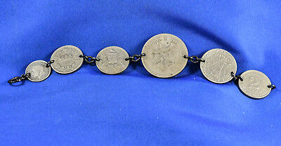Antique 6 COIN BRACELET 1894 - 1933 Variety of Foreign Coins - Some Silver
