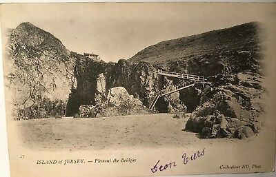 Carte postale ancienne  Island of Jersey Plemont the bridges  stamped and writte