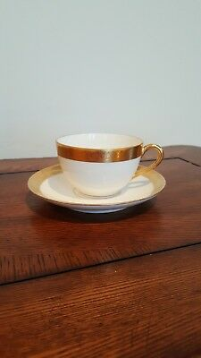 Pickard Etched China Cup And Saucer White With Gold Trim