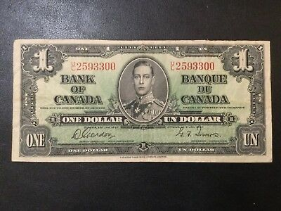1937 Canada Paper Money - One Dollar Banknote!