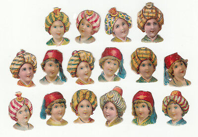 Oblaten scrap die cut chromo / Kinder  Turban  Köpfe   - 3 cm