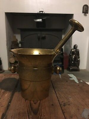 Antique 18th Century Solid Brass Mortar and Pestle. Kitchenalia Apothecary 17th
