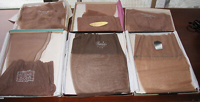 Vintage 1960s Lot of 7 Pairs Nylon Stockings Size 9-10.5 Mediums Varied Brands
