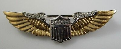 WW2 Sterling Silver Military Wings Sweetheart Pin Rhinestone Reja Air Corps Vtg