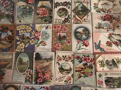 Nice Lot of 30 ~Scenes & Flowers~Vintage Antique Floral Greetings Postcards-a604