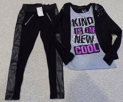 NWT Girls Size 6 Justice Legging and Kind is the New Cool OUTFIT LOT