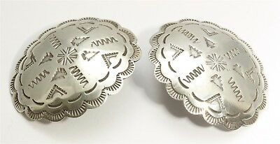Vintage Navajo Sterling Silver Large Old Pawn Stamped Concho Post Earrings 14g
