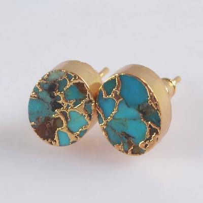 10x8mm Oval Blue Copper Turquoise Stud Earrings Gold Plated H122214