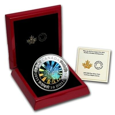 2015 Canada $50 Dollars 5 Oz. 9999 Silver Hologram Coin Lustrous Maple Leaves