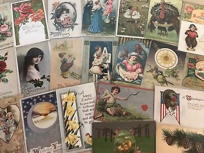 Nice Lot of 25 Vintage Mixed Holiday & Greetings Postcards-in Sleeves-a495