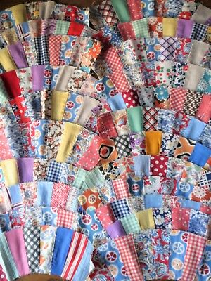 """vintage Quilt blocks lot of 22 wedding ring - 10.5"""" x 3"""" colorful 1930s-40s"""
