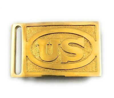 🌟Solid Brass US Civil War Infantry Soldiers Union Army Rectangle Belt Buckle