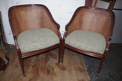 Vintage Pair SMITH & WATSON New York CHAIRS Woven Wicker Wood
