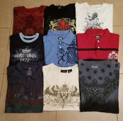 Lot of 9 Vintage Look Graphic Crowns & Lions Polos and T- Shirts Men's size L/XL