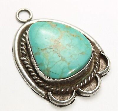 Vintage Navajo Sterling Silver Old Pawn Spiderweb Blue Green Turquoise Pendant