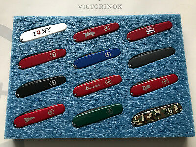 Display foam holder (12-slot) for Victorinox Swiss Army Knife 91mm ***BLUE***
