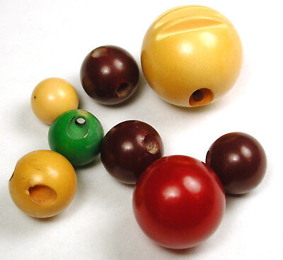 """BB 8  Vintage Bakelite Buttons Various Colored Ball Designs - 3/8 to 3/4"""""""