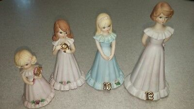 Lot of 4 Vintage Growing Up Birthday Girls Figurines Enesco Ages 5-9-10-13